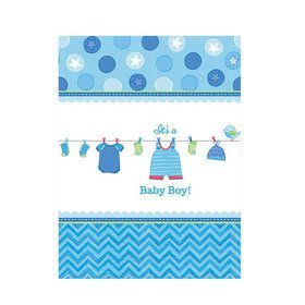 Shower With Love Baby Boy Plastic Table Cover (Each)