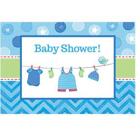 Shower With Love Baby Boy Postcard Invitations (8 Count)