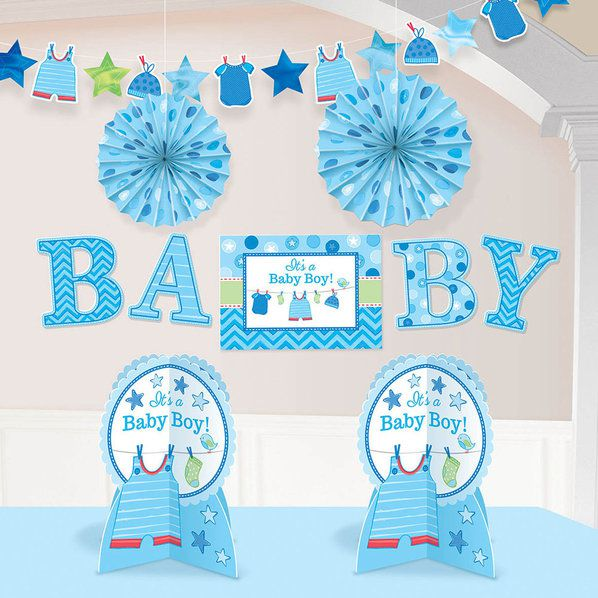 Shower with love baby boy room decorating kit each for Baby boy shower decoration kits