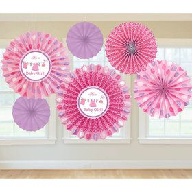 Shower With Love Baby Girl Fan Decorations (6 Count)