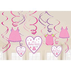 Shower With Love Baby Girl Foil Swirl Decorations (12 Pieces)