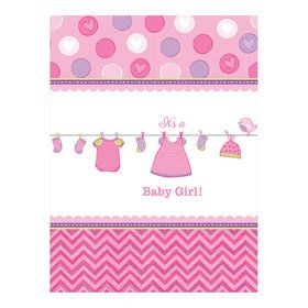 Shower With Love Baby Girl Plastic Table Cover (Each)