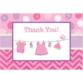 Shower With Love Baby Girl Postcard Thank You Cards (8 Count)