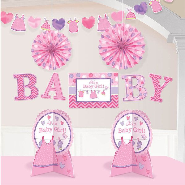 Shower with love baby girl room decorating kit each for Baby shower decoration kit