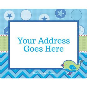 Shower With Love Blue Personalized Address Labels (Sheet of 15)