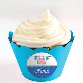Shower With Love Blue Personalized Cupcake Wrappers (Set of 24)