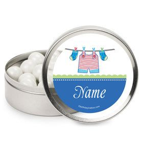 Shower With Love Blue Personalized Mint Tins (12 Pack)