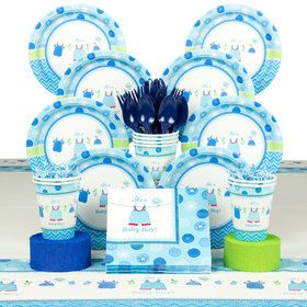 Shower With Love Boy Baby Shower Deluxe Tableware Kit (Serves 8)