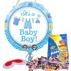 Shower With Love Boy Baby Shower Pull String Pinata Kit