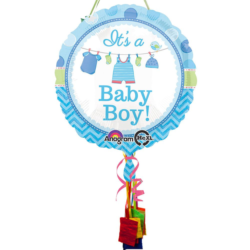 Shower With Love Boy Baby Shower Pull String Economy Pinata