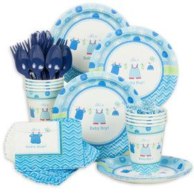 Shower With Love Boy Baby Shower Standard Tableware Kit (Serves 8)