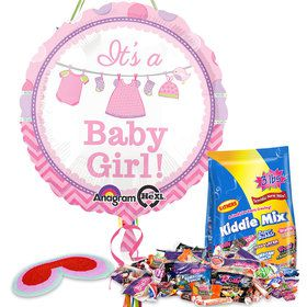 Shower With Love Girl Baby Shower Pull String Economy Pinata Kit
