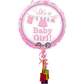 Shower With Love Girl Baby Shower Pull String Economy Pinata