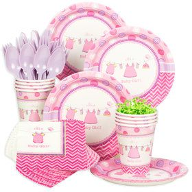 Shower With Love Girl Baby Shower Standard Tableware Kit (Serves 8)