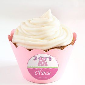 Shower With Love Pink Personalized Cupcake Wrappers (Set of 24)