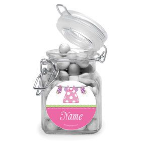 Shower With Love Pink Personalized Glass Apothecary Jars (12 Count)