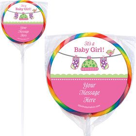 Shower With Love Pink Personalized Lollipops (12 Pack)