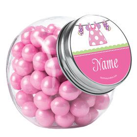 Shower With Love Pink Personalized Plain Glass Jars (10 Count)