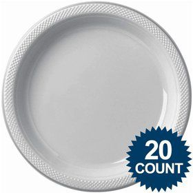 "Silver 10"" Plastic Dinner Plates (20 Pack)"
