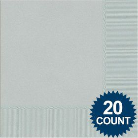 Silver 3-Ply Luncheon Napkins, 20 ct.