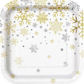 """Silver and Gold Snowflake 7"""" Plates (8)"""