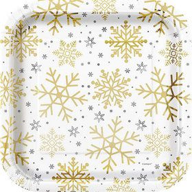 """Silver and Gold Snowflake 9"""" Plates (8)"""