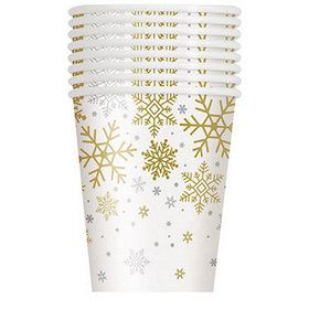 Silver and Gold Snowflake 9oz Paper Cups (8)
