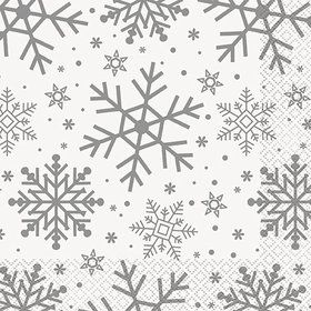 Silver and Gold Snowflake Lunch Napkins (16)