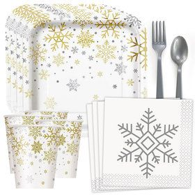 Silver and Gold Snowflakes Standard Tableware Kit (Serves 8)