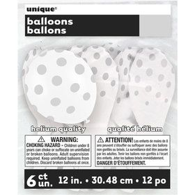 "Silver Dots 12"" Latex Balloon (6 Pack)"