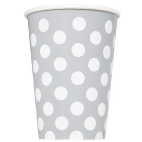 Silver Dots 12oz Cups (6 Pack)