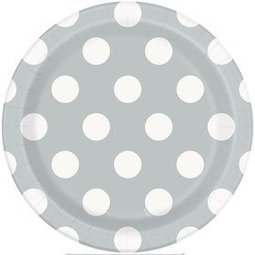 "Silver Dots 7"" Plates (8 Pack)"
