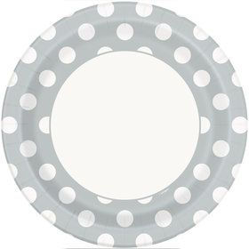 "Silver Dots 9"" Plates (8 Pack)"