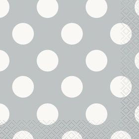 Silver Dots Beverage Napkins (16 Pack)