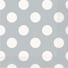 Silver Dots Lunch Napkins (16 Pack)