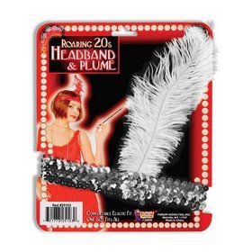 Silver Flapper Headband Feather