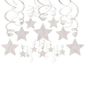 Silver Foil Star Hanging Decorations