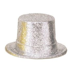 "Silver Glitter 5"" Plastic Top Hat (Each)"
