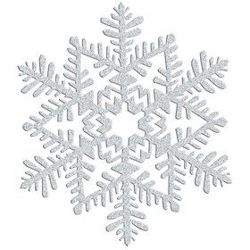 Silver Glitter Plastic Snowflake Decoration (Each)