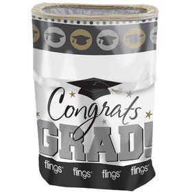 Silver & Gold Graduation Pop-Up Trash Bin (Each)