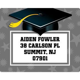 Silver Grad Personalized Address Labels (Sheet of 15)