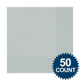Silver Luncheon Napkins (50 Pack)