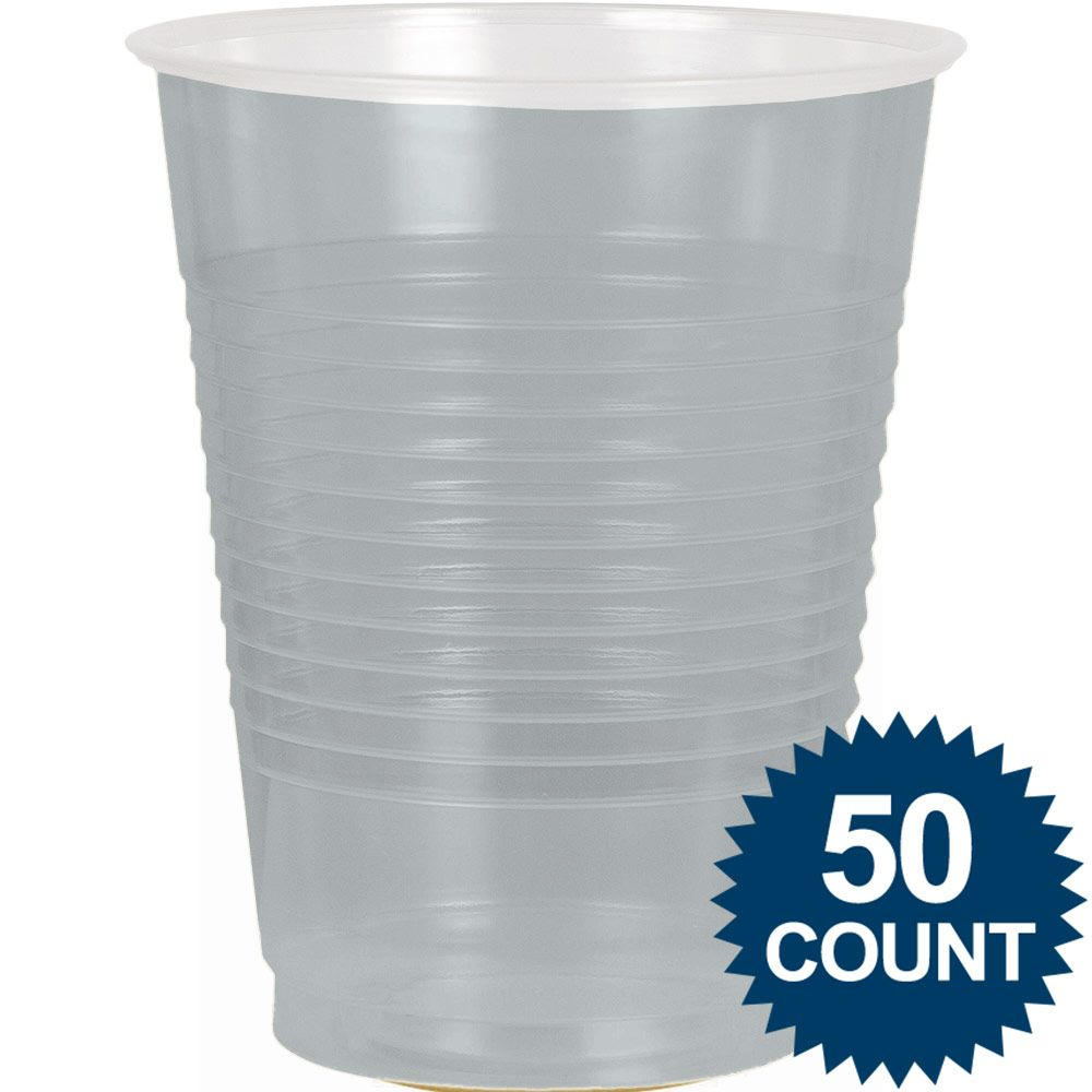 Silver Plastic 16Oz. Cup (50 Pack) - Party Supplies BB43680117