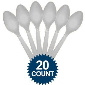 Silver Plastic Spoons (20 Pack)
