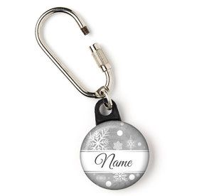 "Silver Snowflake Personalized 1"" Carabiner (Each)"