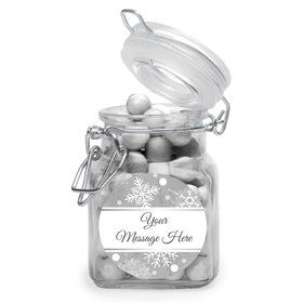 Silver Snowflake Personalized Glass Apothecary Jars (10 Count)