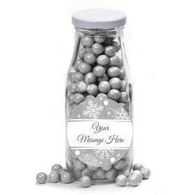 Silver Snowflake Personalized Glass Milk Bottles (12 Count)