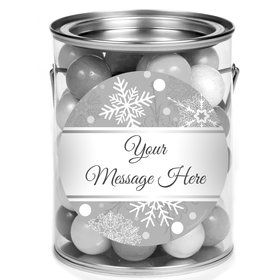 Silver Snowflake Personalized Mini Paint Cans (12 Count)