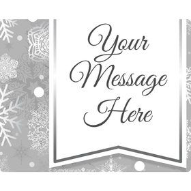 Silver Snowflake Personalized Rectangular Stickers (Sheet of 15)