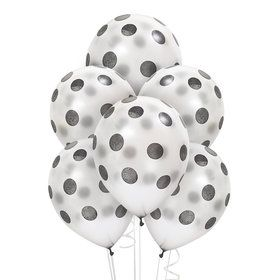 Silver with Black Dots Latex Balloons
